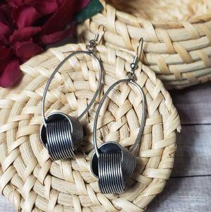 Industrial Steampunk Silver Spring Drop Earrings